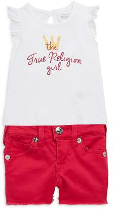 True Religion Little Girl's Two-Piece Royal Graphic Cotton Top and Shorts Set