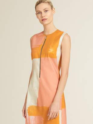DKNY Sateen Sleeveless Zip Front Dress