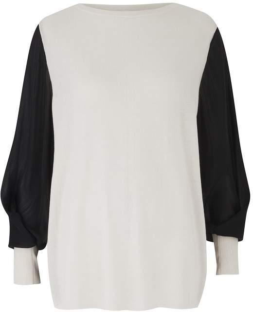 Amanda Wakeley Ecru Sweater With Sheer Sleeve