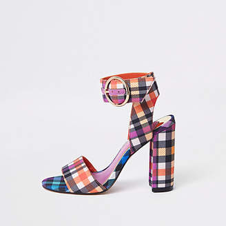 River Island Purple check print block heel sandals