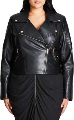 City Chic Faux Leather Biker Jacket