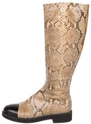 Chanel CC Snakeskin Boots