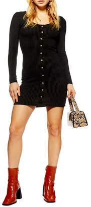 Topshop Ribbed Button Dress
