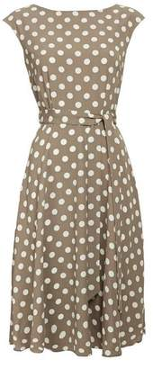 Wallis Taupe Polka Dot Midi Fit and Flare Dress