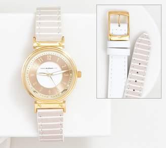 Isaac Mizrahi Live! Reversible Solid & Stripe Watch