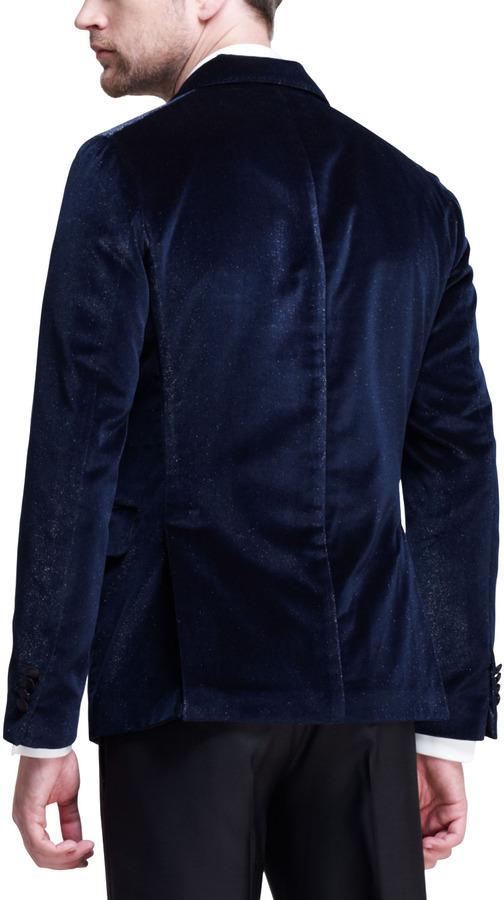 DSquared Dsquared2 Napoli Glitter-Velvet Tuxedo Jacket, Blue