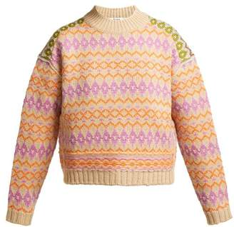 Acne Studios Fair Isle Wool Sweater - Womens - Cream Multi