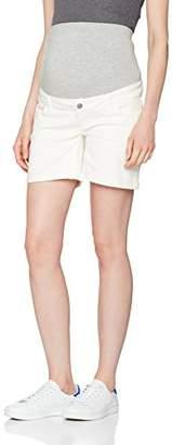 Mama Licious Mamalicious Women's MLSIGGA Denim Shorts Maternity Jeans, Antique White