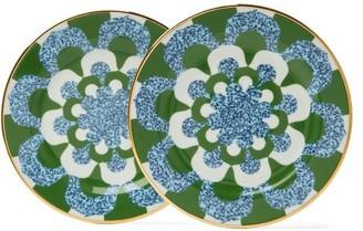 La DoubleJ Mosaic Print Porcelain Dessert Plates - Womens - Blue Multi