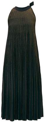 Elie Saab Tie Neck Metallic Ribbed Knit Midi Dress - Womens - Black
