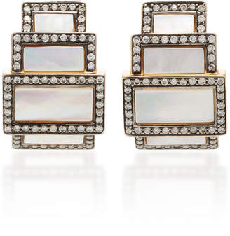 Mother of Pearl Sorellina 18K Gold And White Diamond Earrings