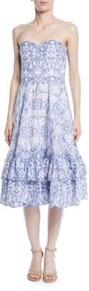 Jonathan Simkhai Scalloped Bustier Midi Dress