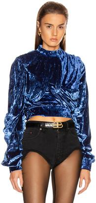 Y/Project Velvet Wrap Top in Royal Blue | FWRD