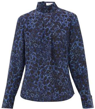 Cefinn - Riley Leopard Pansy Print Silk Blouse - Womens - Blue Multi