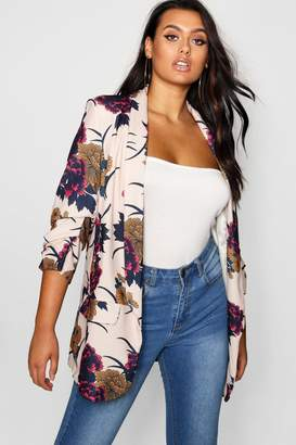 boohoo Plus Sleeve Floral Fitted Blazer