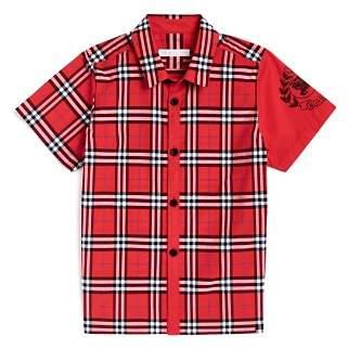 Burberry Boys' Sammi Check Emblem Shirt - Little Kid, Big Kid