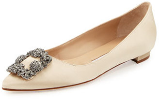 Manolo Blahnik Hangisi Crystal-Buckle Satin Flat, Beige $955 thestylecure.com