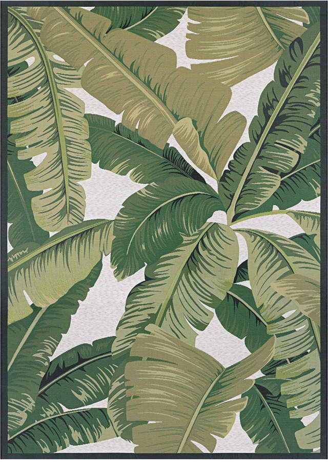 "Couristan Couristan Dolce Indoor/Outdoor Palm Lily Hunter Green-Ivory 4' x 5'10"" Area Rug"