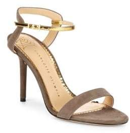 Charlotte Olympia Metallic-Trimmed Leather Ankle Strap Sandals