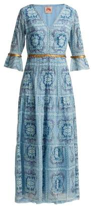 Le Sirenuse Le Sirenuse, Positano - Bella Aretusa Print Cotton Midi Dress - Womens - Light Blue