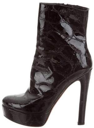 Alaia Patent Leather Platform Ankle Boots