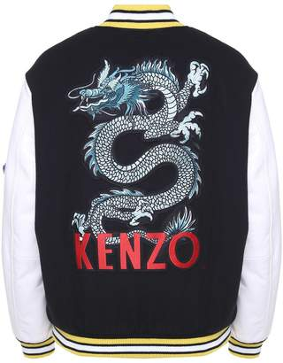 Kenzo Embroidered Leather-trimmed Wool-blend Bomber Jacket