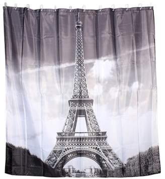 Unique Bargains Eiffel Tower Print Home Decor Shower Curtain w 12 Hooks Rings 180 x 180cm