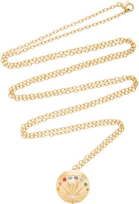 MONICA Nouvel Heritage Santa 18K Gold Diamond Sapphire And Emerald Medallion