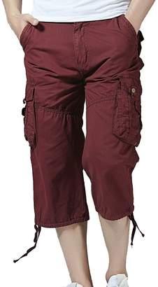 PIZZ ANNU Men's Casual Elastic Cargo Shorts Below Knee Loose Fit Multi-Pocket Capri Long Shorts(1201-702