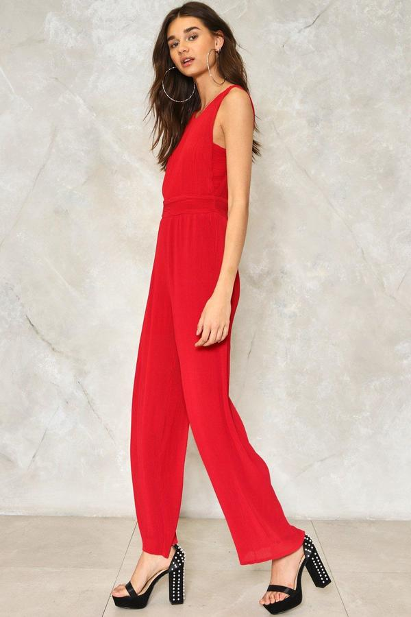 nastygal One Fell Swoop Wide-Leg Jumpsuit