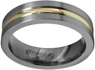 Sti By Spectore STI by Spectore 14k Gold & Gray Titanium Striped Wedding Band - Men