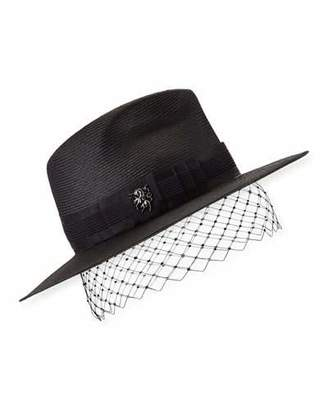 50419c66c7a9b1 Philip Treacy Low Pinched Trilby w/ Veiling