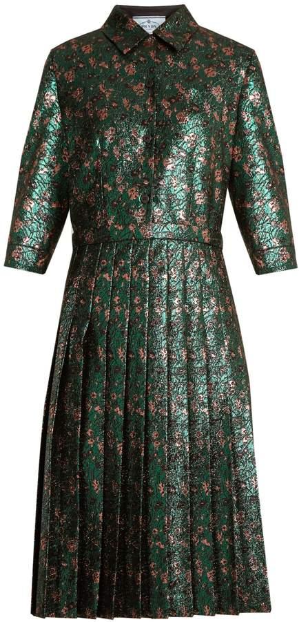 PRADA Floral-jacquard pleated dress