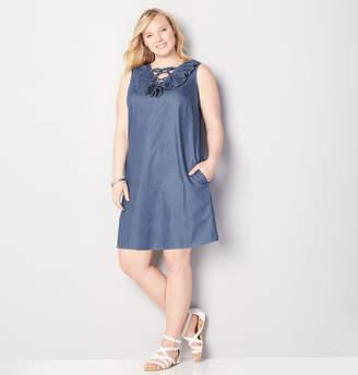 Avenue Lace Up Dot A-Line Dress
