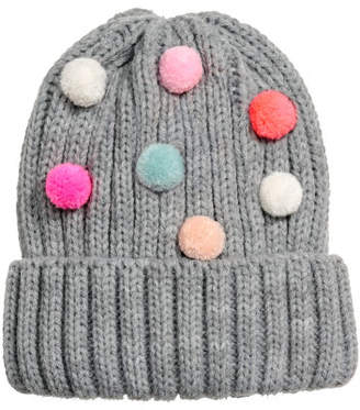 H&M Hat with pompoms - Gray