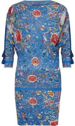 Roberto Cavalli Gathered Floral-Print Stretch-Knit Mini Dress