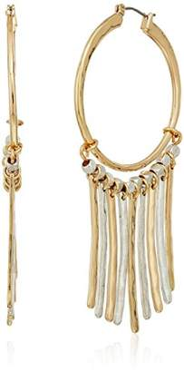 Robert Lee Morris The Bigger Stone Two Tone Chandelier Hoop Drop Earrings