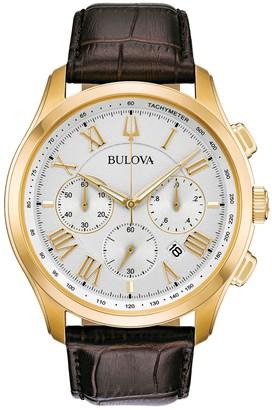 Bulova Men's Goldtone & Brown Leather Strap Chronograph Watch
