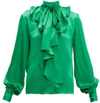 MSGM Ruffled Pussy Bow Satin Blouse - Womens - Green