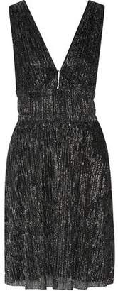 Maje Rimalda Metallic Stretch-Knit Mini Dress