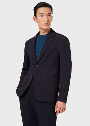 Giorgio Armani Single-Breasted Jacket In Patterned Stretch Fabric With Prince Of Wales Motif