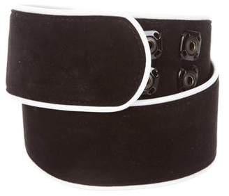 Dolce & Gabbana Suede Leather-Trimmed Waist Belt