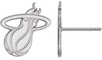 Logoart LogoArt NBA Miami Heat 10kt White Gold Stud Earrings