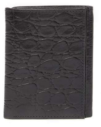 Bosca Victoria Tri-Fold Croc Embossed Leather Wallet