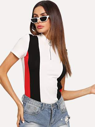 Shein O-Ring Zip Front Color Block Top