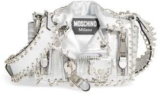 Moschino Small Biker Jacket Pierced Metallic Leather Crossbody Bag