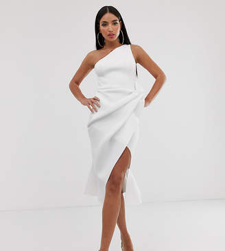 Asos Tall DESIGN Tall one shoulder tucked peplum pencil midi dress