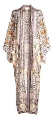 Camilla Print Silk Duster Kimono Coat