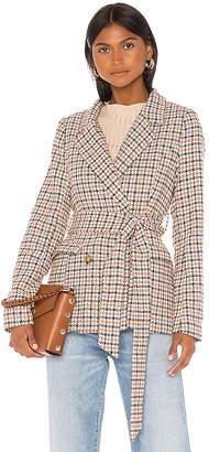 Line & Dot Check Waist Tie Blazer