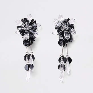 River Island Black sequin and bead drop earrings